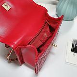 CHANEL AS2055 New Sheepskin Lingge Flap Bag Red