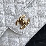 CHANEL 1112 Classic Handbag Grained Calfskin & Gold-Tone Metal (White)
