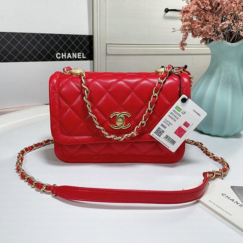 CHANEL AS2055 New Sheepskin Lingge Flap Bag Red