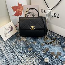 CHANEL AS2059 Flap Bag With Top Diamond Handle(Black)