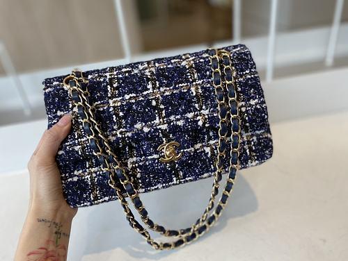 CHANEL A01116 Tweed Classic Flap Bag Purple
