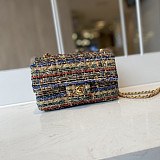 CHANEL A01116 Tweed Classic Flap Bag Brown