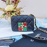 CHANEL AS1889 Coco Kingdom Calfskin Flap Bag Black