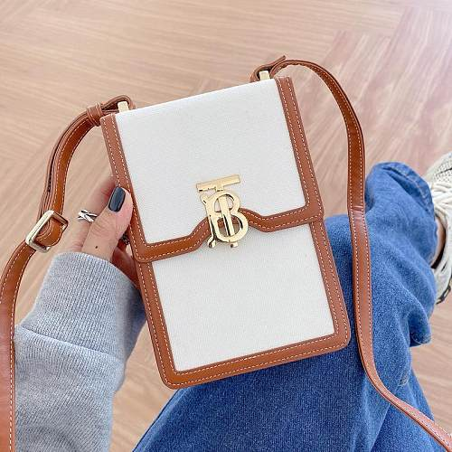 BURBERRY INSPIRED PU LEATHER  UNIVERSAL PHONE CASE WITH LANYARD FOR IPHONE SAMSUNG HUAWEI  UES8040 WHITE