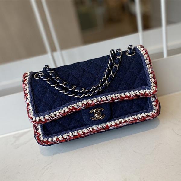 CHANEL A01116 Tweed Classic Flap Bag Blue