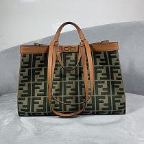 Fendi PEEKABOO X-TOTE green embroidered canvas bag
