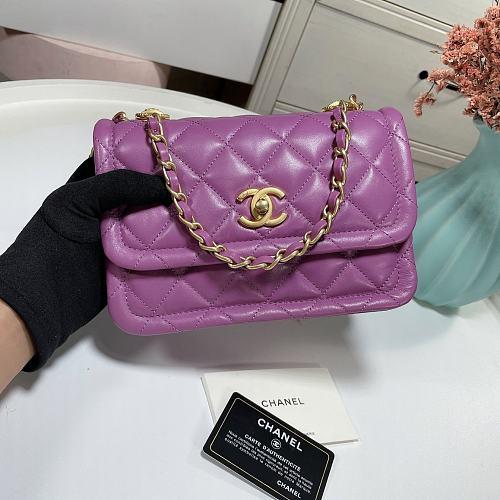 CHANEL AS2055 New Sheepskin Lingge Flap Bag Purple