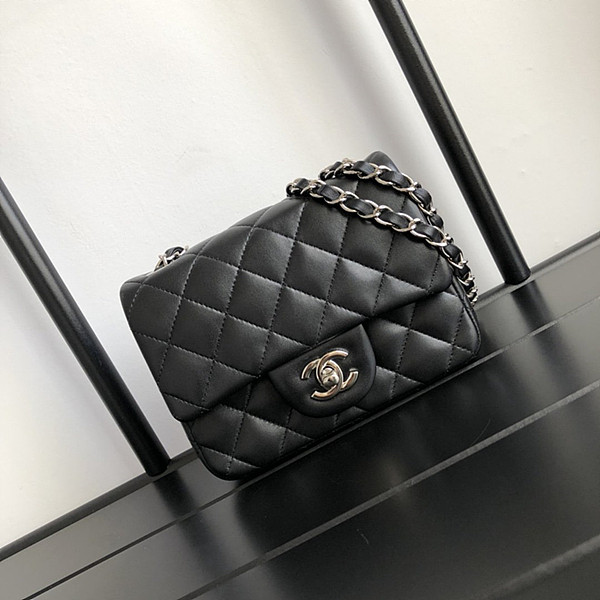 CHANEL 1115 Lambskin  Mini Classic Handbag Black