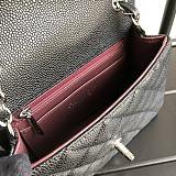 CHANEL 1115 Grained Calfskin Classic Handbag Black