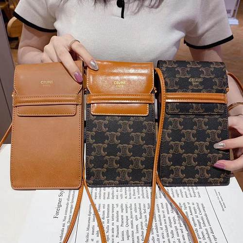 CELINE INSPIRED LEATHER UNIVERSAL PHONE CASE BAG WITH LANYARD FOR IPHONE SAMSUNG HUAWEI SLK040