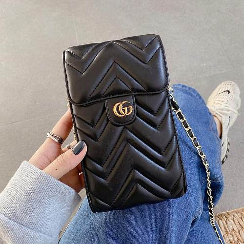 GUCCI INSPIRED LEATHER UNIVERSAL PHONE CASE BAG WITH LANYARD FOR IPHONE SAMSUNG HUAWEI CXH040