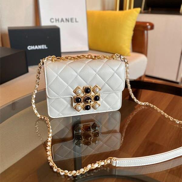 CHANEL AS1889 Coco Kingdom Calfskin Flap Bag White