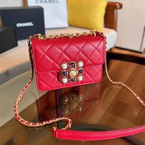 CHANEL AS1889 Coco Kingdom Calfskin Flap Bag Red