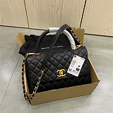 CHANEL A92991 Coco Handle Bag With Lizard Handle Black