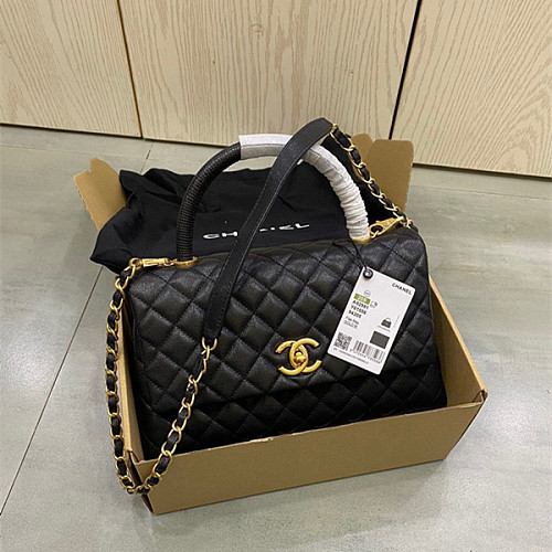 CHANEL A92991 Coco Handle Bag With Lizard Handle Black