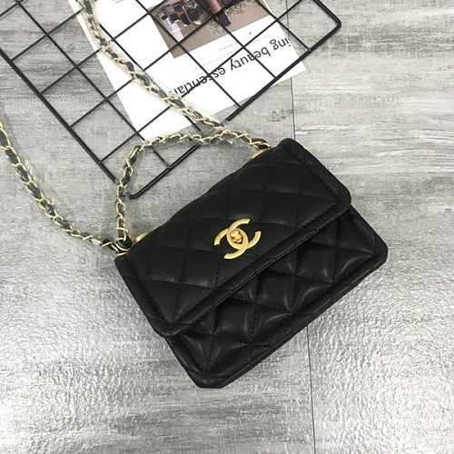 CHANEL 5894 New Sheepskin Lingge Flap Small Bag Black(Small)
