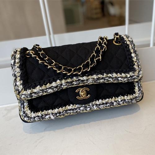 CHANEL A01116 Tweed Classic Flap Bag Black
