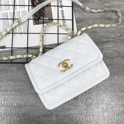 CHANEL 5894 New Sheepskin Lingge Flap Small Bag White(Small)
