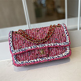 CHANEL A01116 Tweed Classic Flap Bag Pink