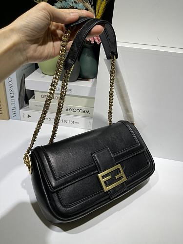 Fendi Stamp design and zipper, black nappa leather bag