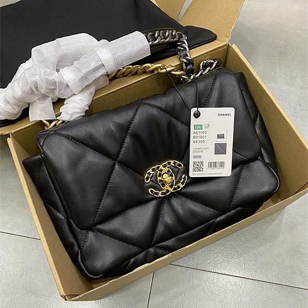CHANEL AS1161 19 Lambskin Small Flap Bag Black