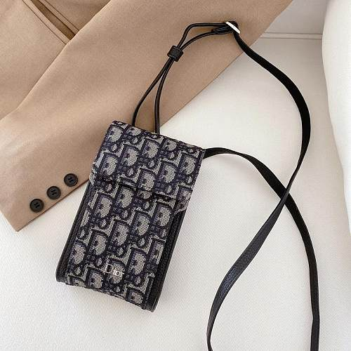 DIOR INSPIRED PU LEATHER UNIVERSAL PHONE CASE BAG WITH LANYARD FOR IPHONE SAMSUNG HUAWEI LHSC040