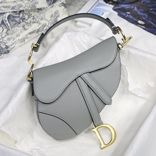 DIOR M0446CBAA GRAINED CALFSKIN SADDLE BAG GRAY