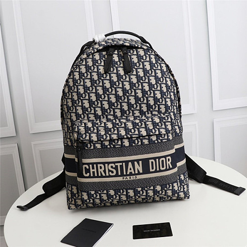 DIOR M6104STZQ OBLIQUE JACQUARD TRAVEL BACKPACK BLUE