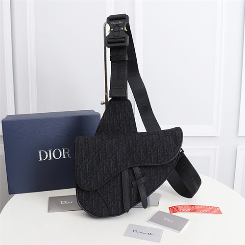 DIOR 1ADPO093 OBLIQUE JACQUARD SADDLE BAG BLACK