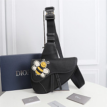 DIOR 1ADPO093 BEE SHAWN SADDLE BAG BLACK