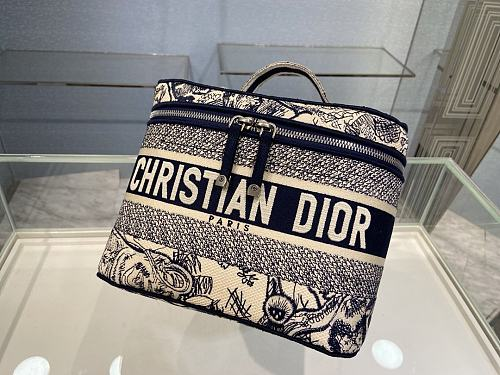 DIOR EMBROIDERED VELVET TRAVEL VANITY CASE BLUE
