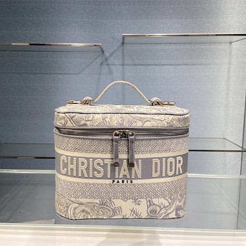 DIOR EMBROIDERED VELVET TRAVEL VANITY CASE GRAY
