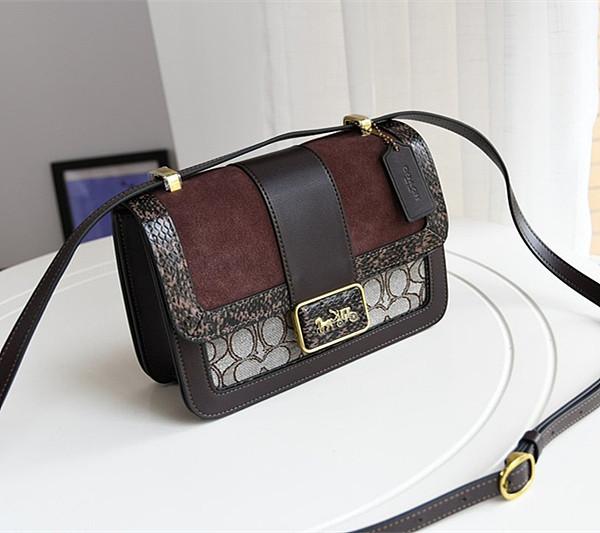 COACH C0712 Alie Shoulder Bag In Signature Jacquard With Snakeskin Detail