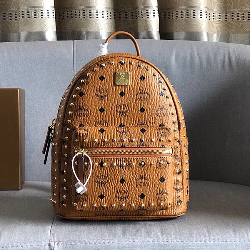 MCM Pyramid Rivet Small Stark Viestos Coated Rucksack