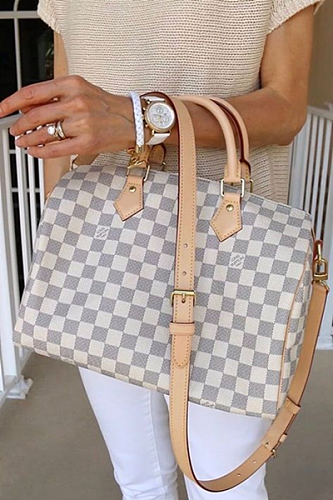 High End Replica Louis Vuitton N41374 Speedy Bandouliere 25 Damier Azur Canvas bag