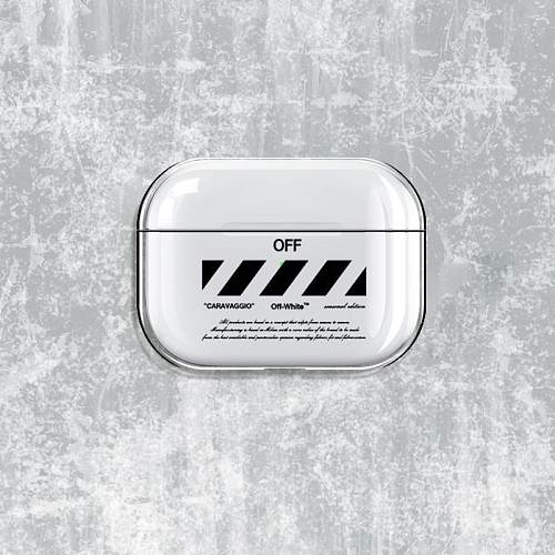 OFF White Style Clear Hard Protective Case For Apple Airpods Pro