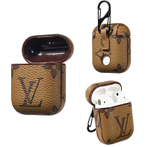 LV Light Brown Leather ShockProof AirPods Case