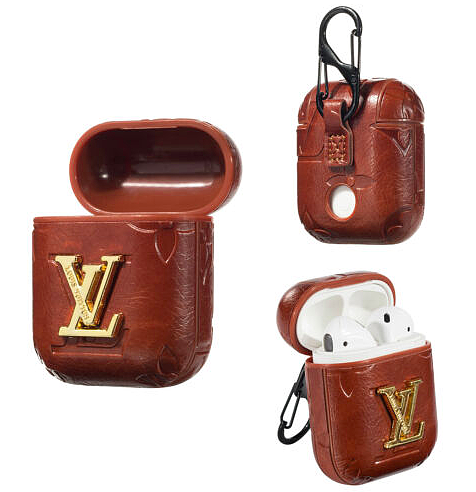 LV Style Leather ShockProof AirPods Case