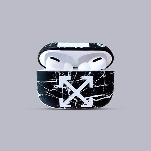 Off White Style Marble Hard Protective Case For Apple Airpods Pro