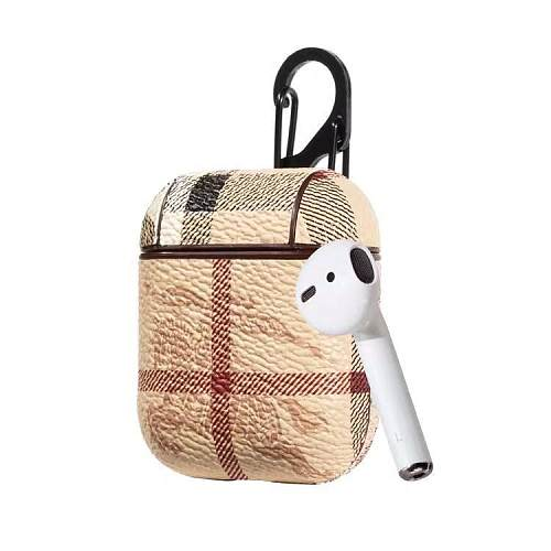 Burberry Style AirPods Classic Leather Protective Shockproof Case For Apple Airpods 1 & 2