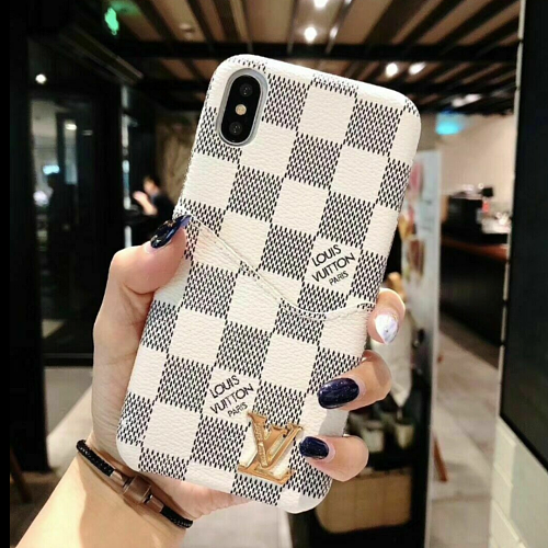 LOUIS VUITTON LV Checkered Leather Cardholder iPhone Case