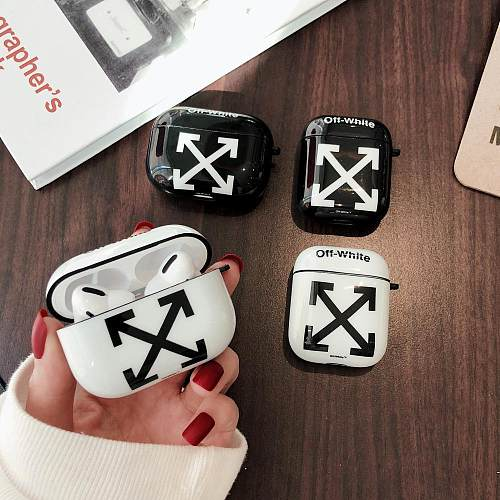 Off White Style Glossy Silicone Protective Case For Apple Airpods Pro