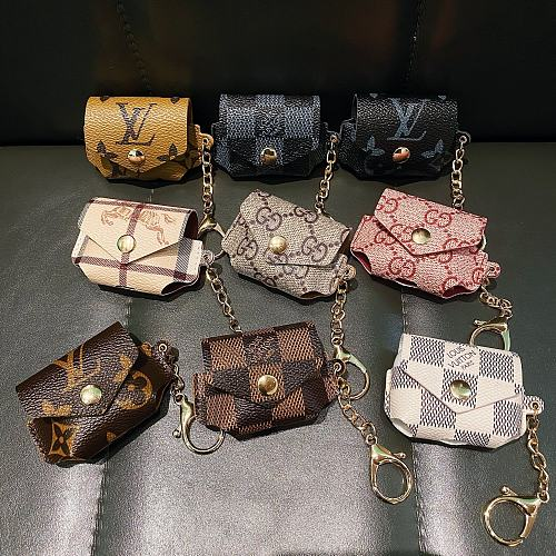 Louis Vuitton Style Monogram Luxury Leather Pouch Classic Protective Case For Apple Airpods Pro