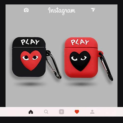 Comme Des Garcons PLAY Style Silicone Protective Case For Apple Airpods 1 & 2