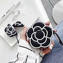 Camellia Black Flower Silicone Protective Shockproof Case For Apple Airpods 1 & 2