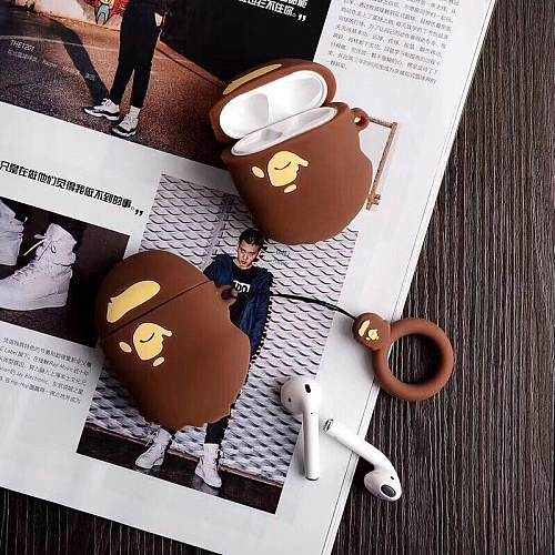 Retro Bape Style 3D Street Fashion Silicone Protective Shockproof Case For Apple Airpods 1 & 2