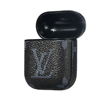 LV Black Inspired Leather ShockProof AirPods Case
