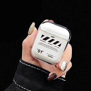 Off White Style Silicone ShockProof AirPods Case