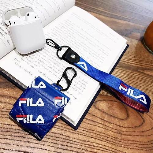 FILA Sports Leather Lanyard Protective Shockproof Case For Apple Airpods 1 & 2