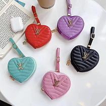 Louis Vuitton Style Luxury Leather Heart Protective Case For Apple Airpods 1 & 2 & Pro
